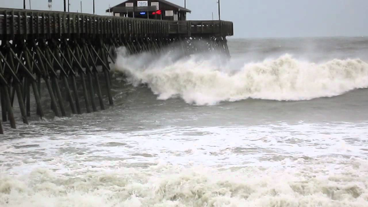 Garden City Pier Takes Some Waves And Rough Surf From Irene