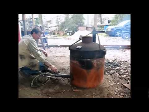 Lighting my crucible furnace. Preparing to melt cast iron.