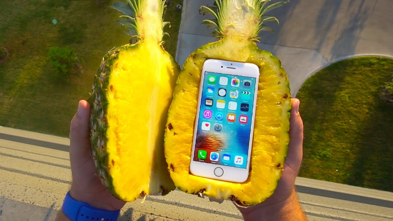 Can A Pineapple Protect IPhone 6s From Extreme 100 FT Drop Test