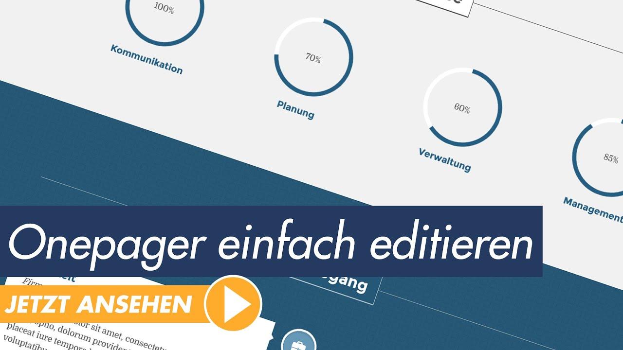 Moderne Onepager-Vorlagen einfach editieren - YouTube