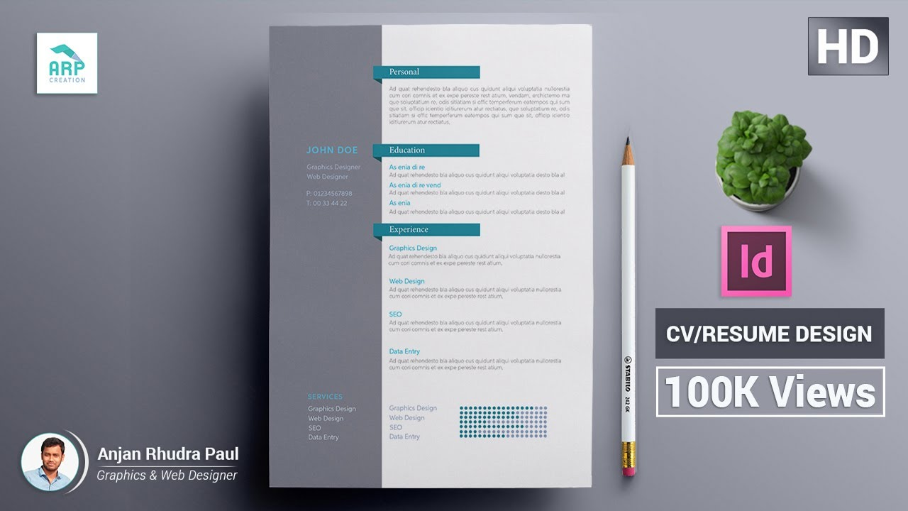template indesign cv
