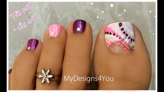 Quick and Easy Abstract Toenail Art Design | Purple and Pink Pedi ♥