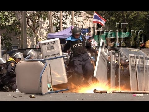 Grenade Attack on Police Bangkok, Thailand Feb. 18, 2014