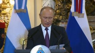 Declaraciones a la prensa de los presidentes Macri y Putin en Casa Rosada