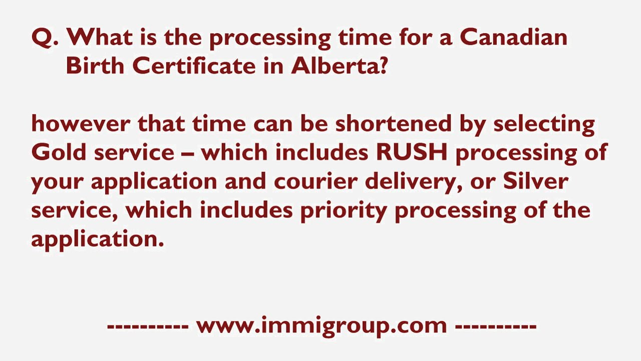What Is The Processing Time For A Canadian Birth Certificate In