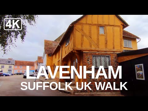 Lavenham Walk 2020 Suffolk's Famous Medieval Village, UK guided Tour (Turn On Captions) 2020