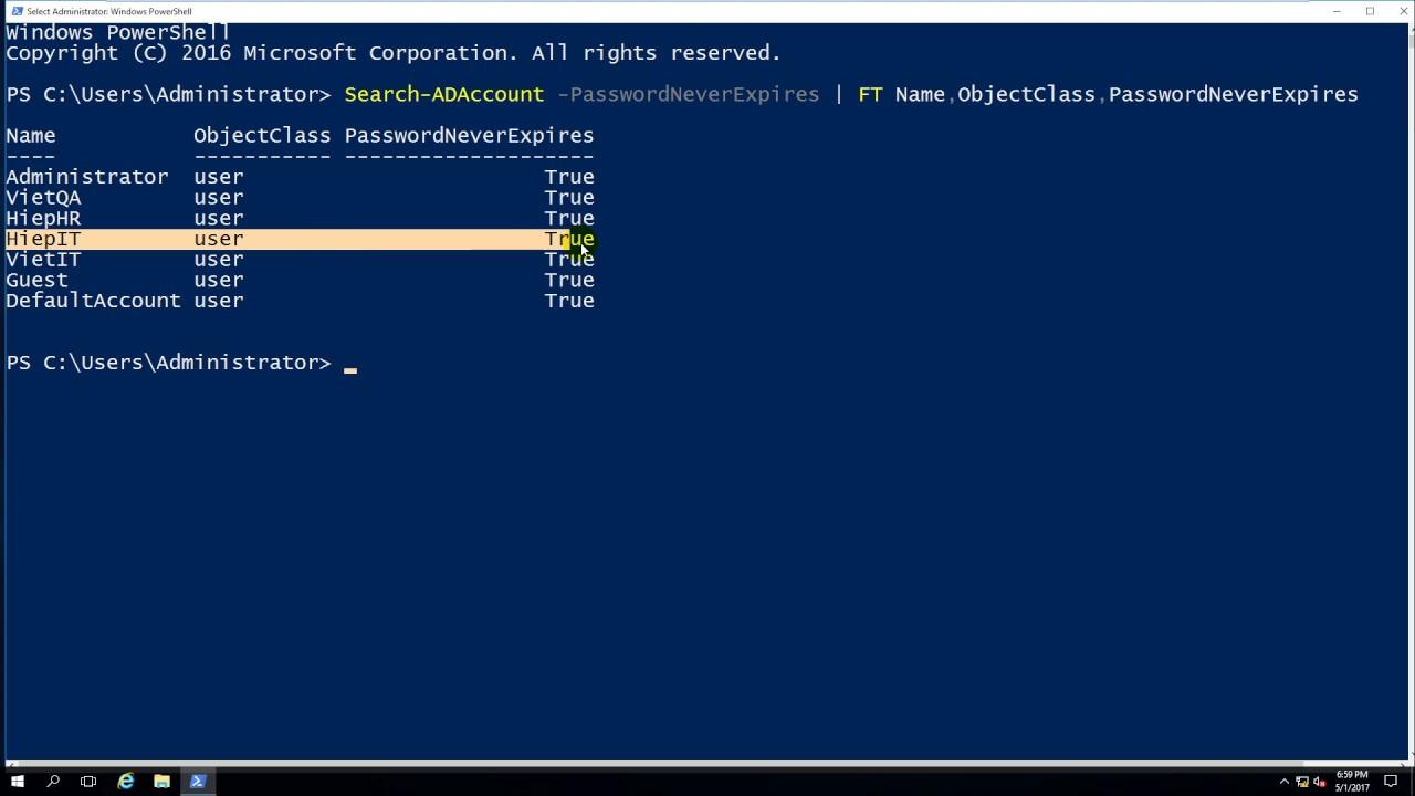 change user password windows 10 powershell
