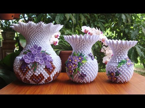 How To Make 3D Origami Flower Vase V10 | DIY Paper Flower Vase Handmade Decoration