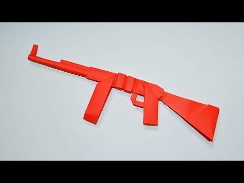 How to make a paper AK 47 - origami - paper toy