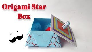 How To Fold Origami Box With Lid ||  Origami Star Box