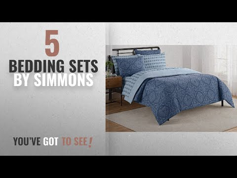 Top 10 Simmons Bedding Sets [2018]: Simmons 16381BEDDKNGBLU Lyon Bedding and Sheet Set, Blue, King