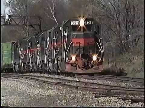Guilford Rail Six engine freight train at Rollinsford NH Spring 1999