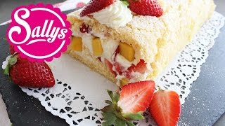 Erdbeer-Mango-Sahne-Rolle / Biskuitrolle / Erdbeerrolle