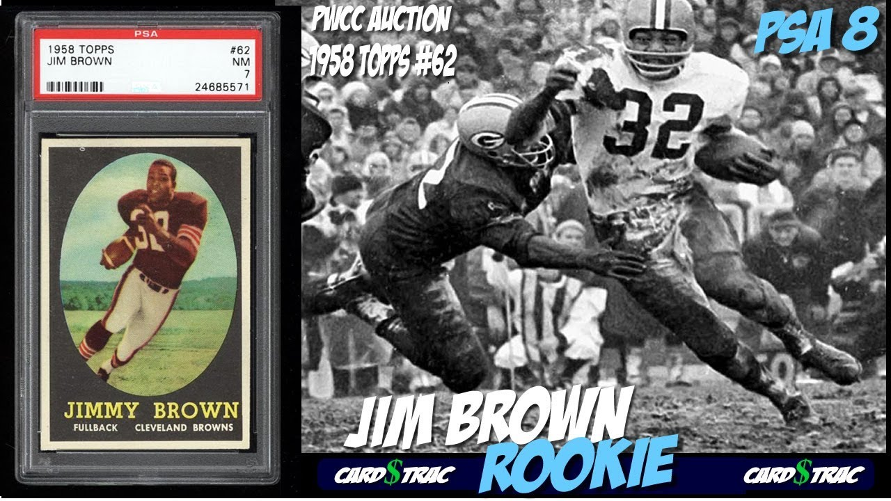 1958 Jim Brown Rookie Card Rc Topps 62 Psa 8