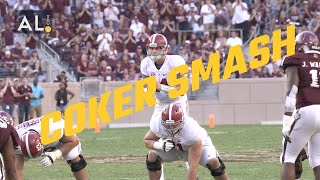 Jacob Coker smashes a Texas A&M defender
