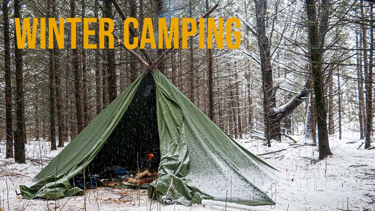 Winter Camping in DIY Canvas Hot Tent - YouTube
