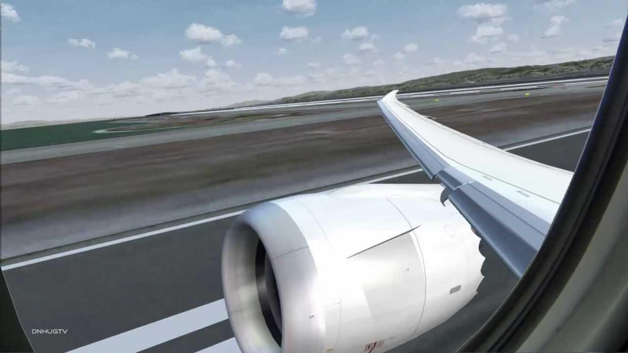 FSX TDS B787 Freeware Takeoff KSFO Wingview