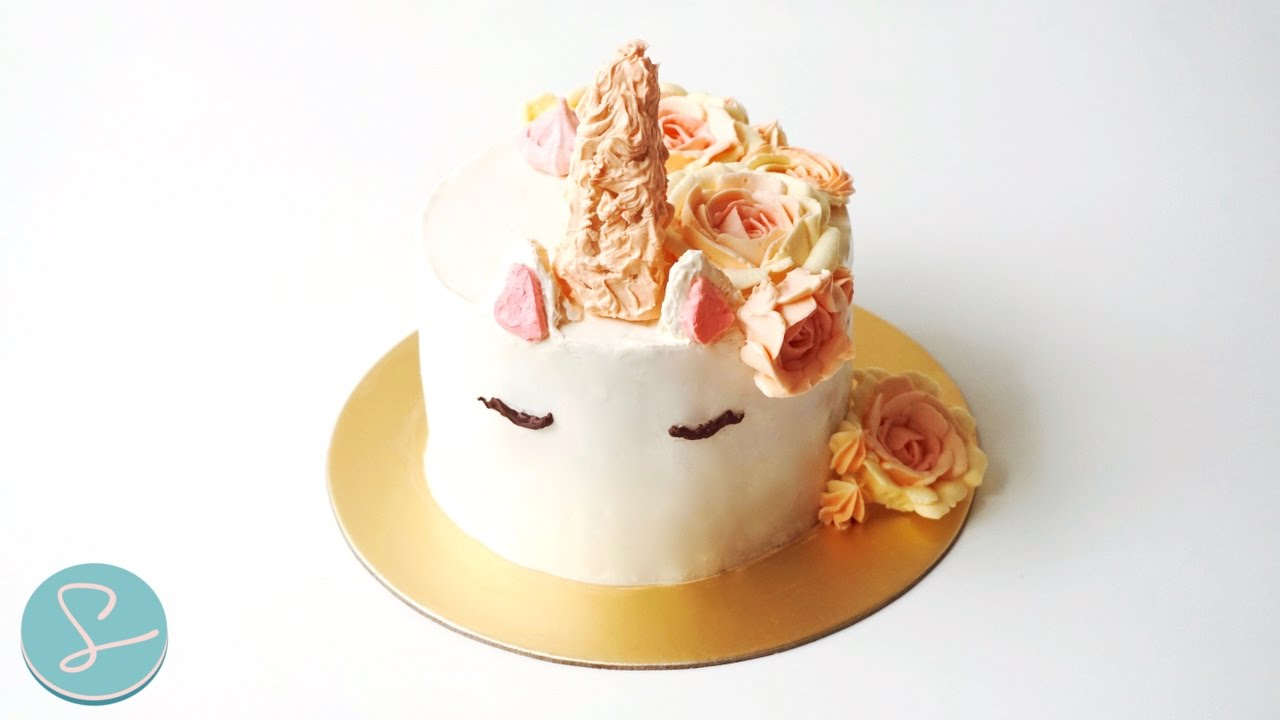 Cake Decor Without Fondant : UNICORN CAKE (Without Fondant!) - Sumopocky - YouTube