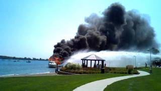 Yacht on fire on St Clair River August 2011 part 1
