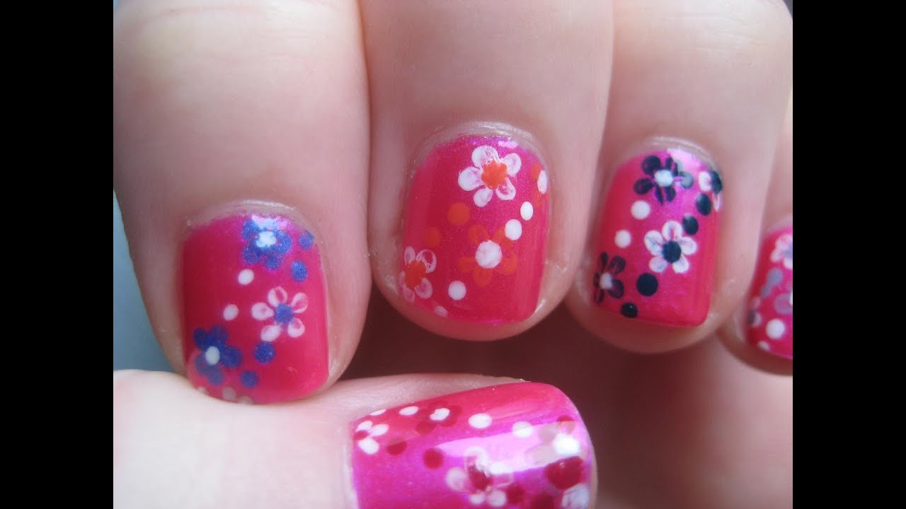 Easy small summer flowers beginners nail art on short nails youtube prinsesfo Choice Image