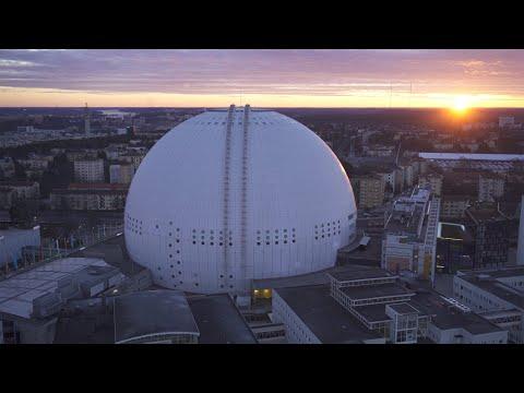 2570. Globen (Stockholm Globe Arena) Drone Stock Footage Video