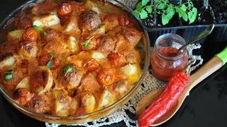 Картофельная запеканка с фрикадельками и овощами( очень вкусно!)