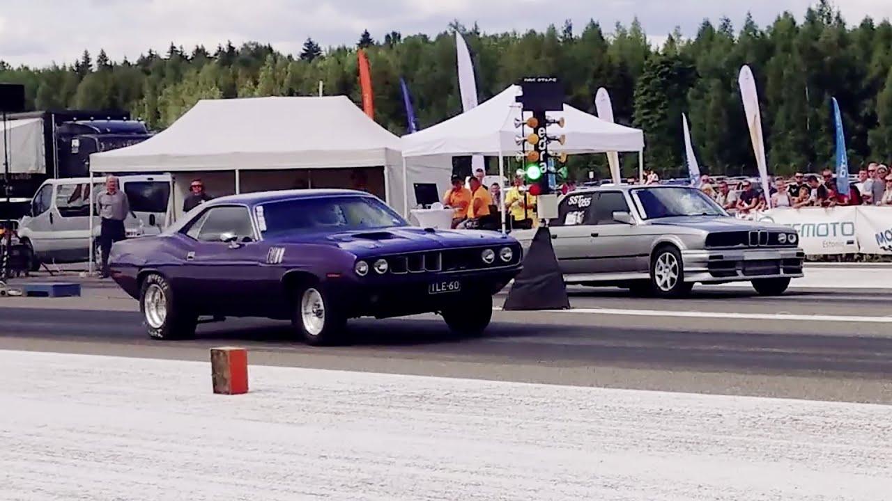 BMW E30 325ix 2.8 Turbo vs '71 Plymouth Cuda 372cid 1/4 mile drag race