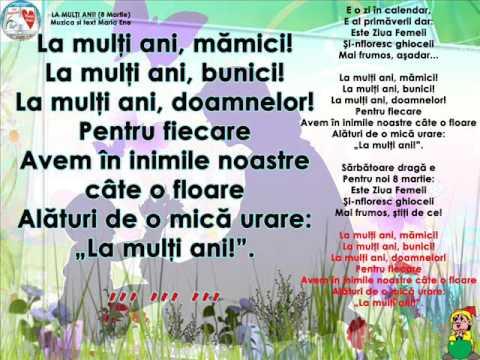 LA MULȚI ANI! (de 8 martie) – Cantece pentru copii in limba romana