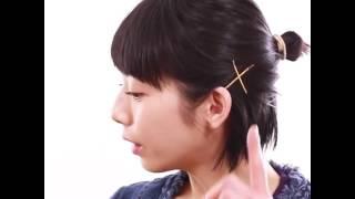 日劇「架空OL日記」中 夏帆的角色以這個髮型登場☆ 加上金色小髮夾,讓公...