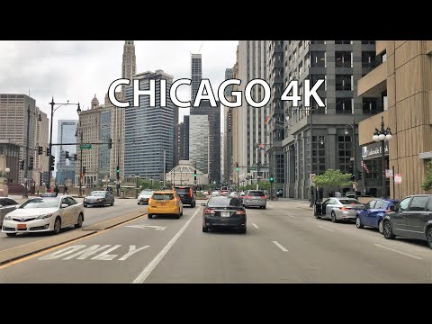 Chicago 4K - Downtown Skyscrapers - Driving Downtown