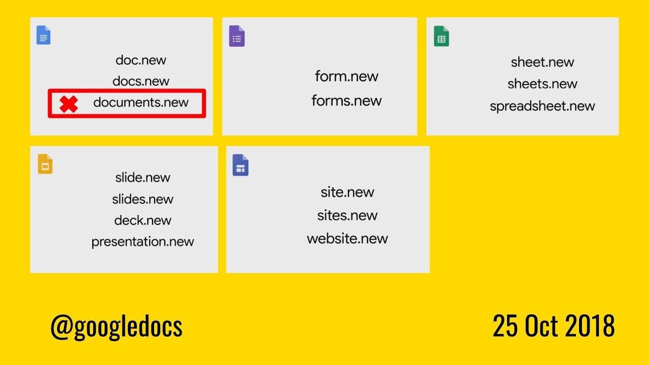 new google docs form sheet slide site shortcuts dot new youtube