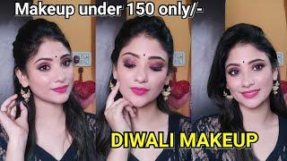 DIWALI MAKEUP TUTORIAL    using Makeup 150rs only    red & black eye look   shystyles
