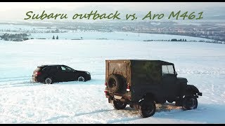 Subaru outback vs. Aro m461 offroad on snow in Slovakia - Drone Dji mavic pro