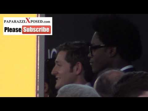 Lucas Neff and Echo Kellum outside the Jobs Premiere at Regal Cinemas in Los Angeles