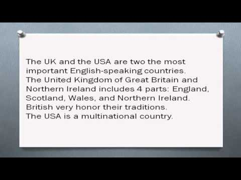 Основные англоязычные страны: Великобритания, США, Канада