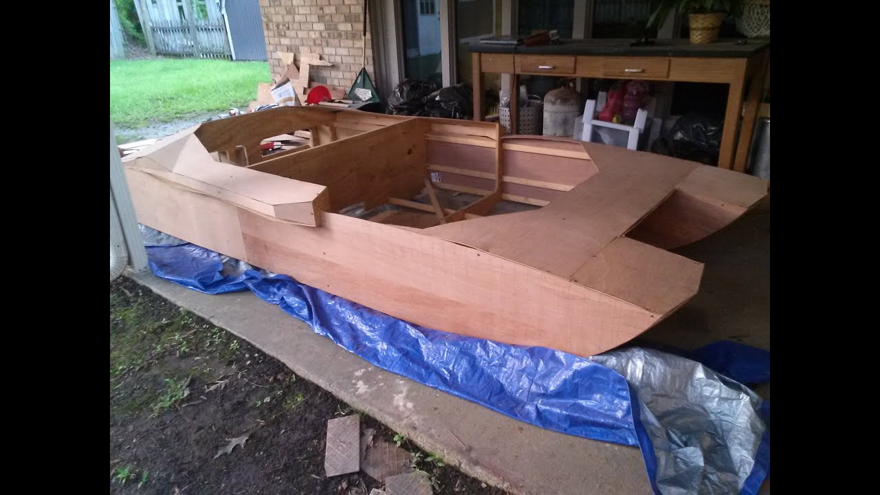 Homemade plywood jet boat pt 7 sheathing youtube for Small house design made of plywood
