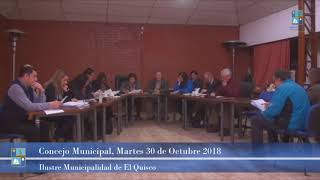 Concejo Municipal Martes 30 de Octubre 2018 El Quisco