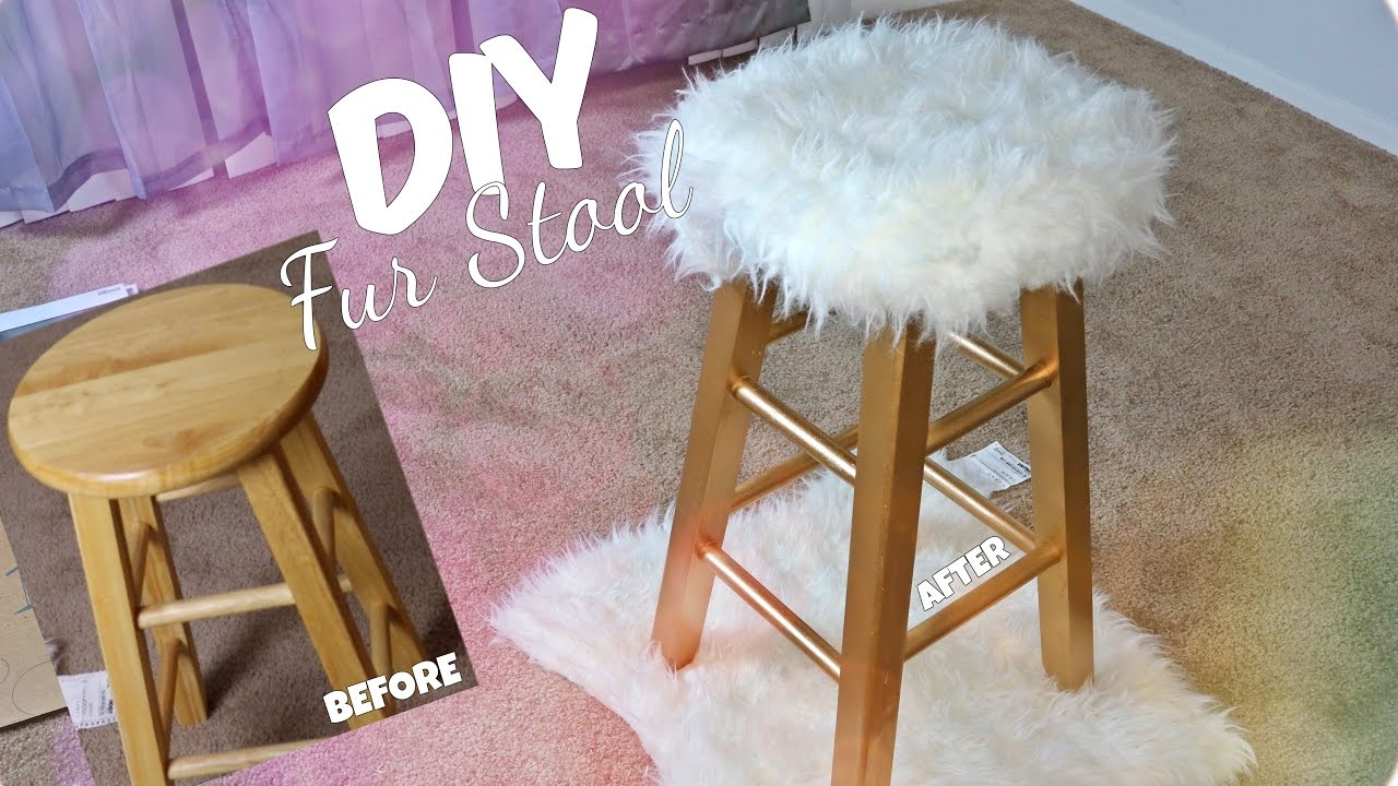 Relatively DIY GOLD FUR STOOL | EASY & AFFORDABLE - YouTube OI78