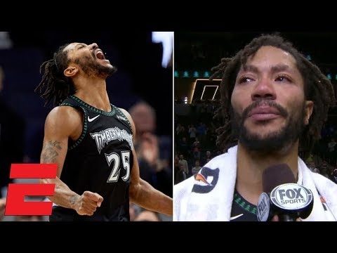 Derrick Rose scores 50 vs. Jazz, gets emotional in postgame interview | NBA Highlights