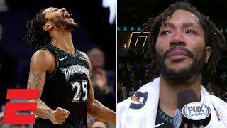 Derrick Rose scores 50 vs. Jazz, gets emotional in postgame interview | NBA Highlights