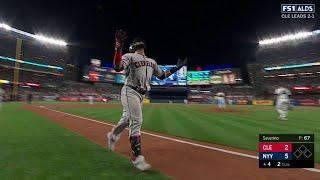CLE@NYY Gm4: Santana smashes a two-run shot to center
