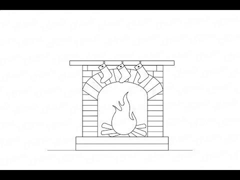 Как нарисовать камин с огнем на стене