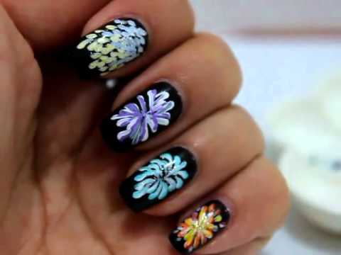Firework nail art design youtube firework nail art design prinsesfo Images
