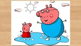 СВИНКА ПЕППА новые серии на русском языке. Раскраска Папа Свин. . Peppa Pig