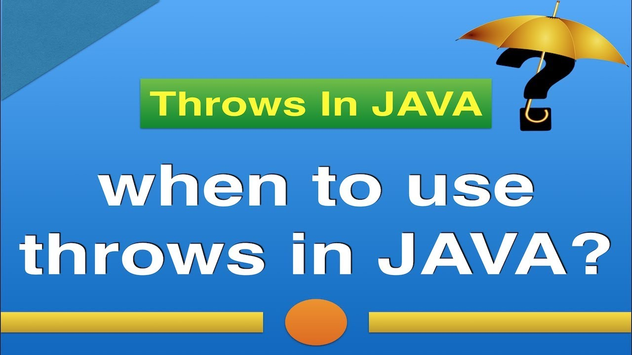 When To Use Throws Keyword In Java Try Catch Vs Throws Exception Handling In Java