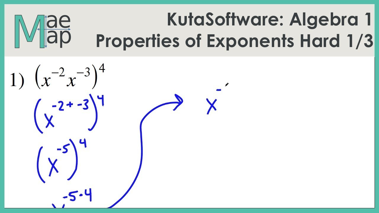 KutaSoftware: Algebra 1- Properties Of Exponents Hard Part 1