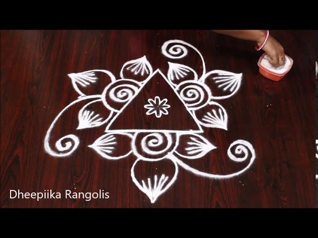 simple & easy freehand flower rangoli *  small daily  muggulu * Apartment rangoli designs