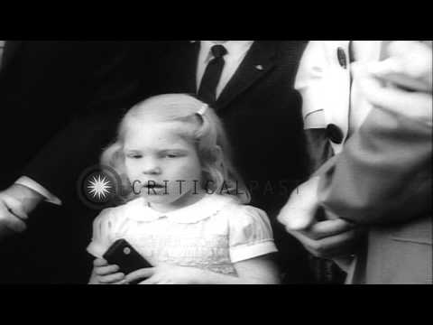 President John F Kennedy greets astronaut Walter Marty Schirra Junior and his fam...HD Stock Footage