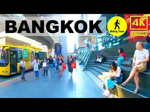 Walking Trips In Front Of Siam Paragon Go To Siam Discovery Bangkok Thailand - 4k