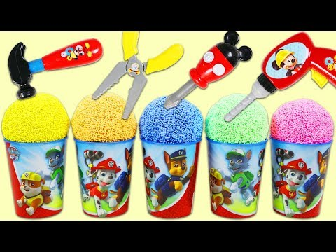 Thumbnail: PAW PATROL Play Foam Surprise Toys Opening with Disney Mickey Mouse Tools & Kinder Eggs!